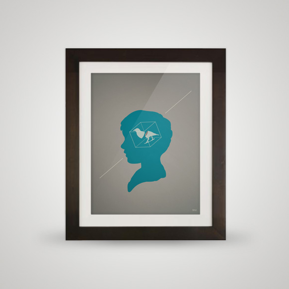 Free posters - Caged bird - Framed